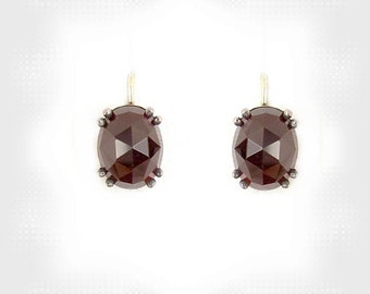 Classic oval garnet earrings/-boutons w/14ct gold wires || ГРАНАТ W#PK