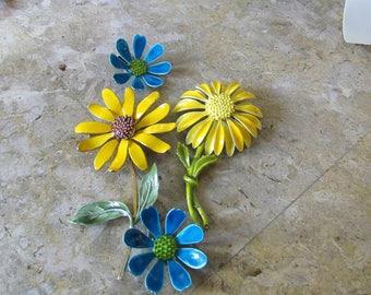 Vintage Enamel Flower Brooch/ Metal Enamel Flowers, Flower Brooches/Repurpose Flower Brooches/Home and Living/Jewelry/Flower Brooches