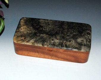 Wood Box - Buckeye Burl on Mahogany with a Sliding Tray - Wood Jewelry Box, Stash Box, Keepsake Box, Wooden Jewelry Box, Handmade Wood Boxes
