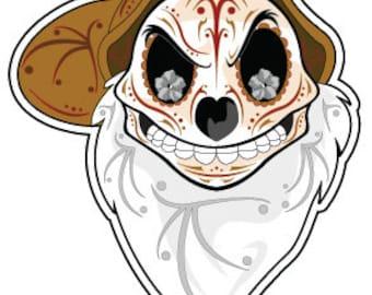 """Grumpy Sugar Skull 4"""" Vinyl Sticker"""