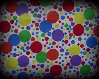 Polka Dot Fabric, Carnival Fabric, Half Yard, Multi Color Fabric, Clown Fabric, White Background, Colorful Polka Dot, Multi Size Polka, Cott