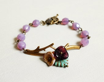 Twig Bracelet.antique brass branch bracelet. branch with flowers bracelet. fall autumn jewelry. purple beads bracelet.mother sister bracelet