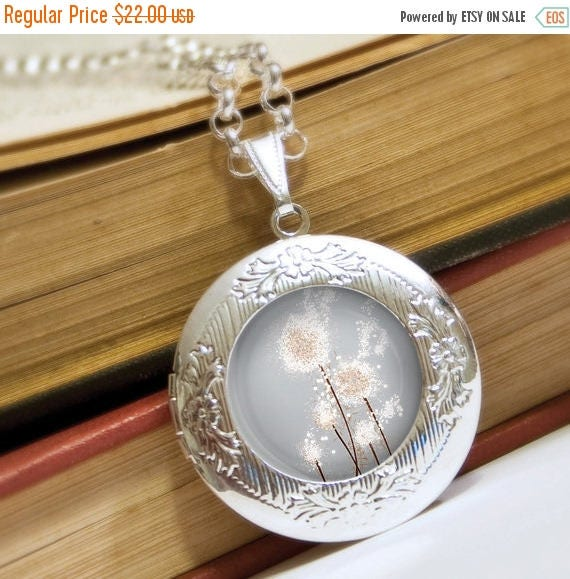 Mothers Day Sale Silver Dandelion Locket Necklace - Silver Locket - Perennial Moment (silver) - Wearable Art with Silver Chain