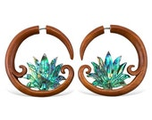 Abalone Lotus Fake Gauges - Tribalstyle Wood with Shell