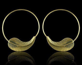 Etched Leaf Hoops - Tribalstyle Brass Earrings
