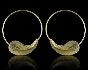 Etched Leaf Hoops - Tribalstyle Brass Earrings