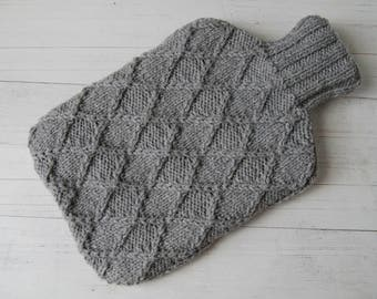 Hot water bottle Cover Knitted in Gray Diamonds Textured pattern