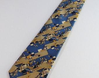 Salvatore Ferragamo Tie. Designer Tie. Art Deco Style. Silk Tie. Rare Tie. Modern Abstract. Blue Brown Tie. Dress Tie. GOGOVINTAGE