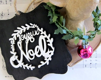 Rustic Joyeux Noel Christmas Ornament Wooden Black White Laurel Wreath French Country Ornament Rustic Cottage Chic Chalkboard Style Ornament