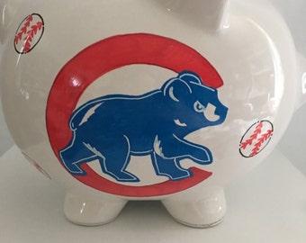 Personalized LargePiggy  Bank Chicago Cubs Newborns , Birthday,Girls,Flower Girl,Baby Shower Gift Centerpiece