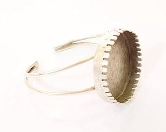Bracelet Blanks Bangle Blanks Cuff Blanks Adjustable Bracelet Blank Antique Silver Plated Brass ( 35mm Blanks ) G7659