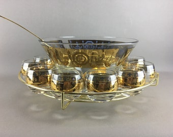 Mid Century, Culver Punch Bowl Set with Rack, Roly Poly Glasses, Ladle, Fleur De Lis, New Years & Wedding Entertaining, Mardi Gras
