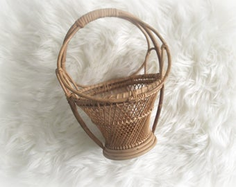 Boho Plant Stand, Vintage Planter, Wicker Planter, Air Plant Basket Bohemian Rattan Decor Mid Century Modern Home