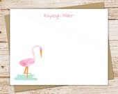flamingo personalized stationery, stationary set . watercolor flamingo note cards, notecards . FLAT stationery . tropical beach . set of 10