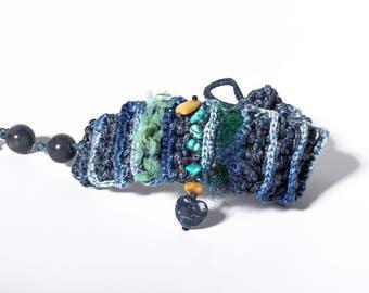 Blue, Turquoise Crocheted Bracelet Cuff