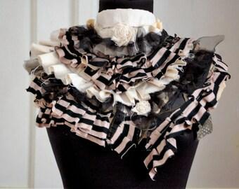 Steampunk collar, victorian , jabot, neck ruffle, stripes and layers, tatter punk,cream, tim burton inspired, gypsy punk, gothic inspired