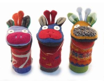 Cate and Levi  Handmade Giraffe Hand Puppet (Premium Reclaimed Wool), Colors Will Vary