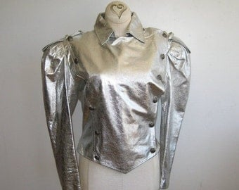 HOLIDAY SALE Vintage 80s Silver Faux Leather Space Odessey Punk Rock Military Style Metallic Jacket