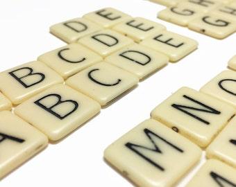 Plastic Scrabble Tiles - Glue-On Scrabble Tiles - Scrapbook Destash Supplies - Craft Supplies - B59 - 51 Tiles