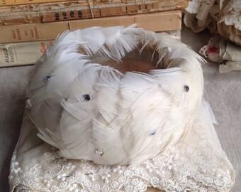 Vintage Ballerina Tiara, White Feathers & Rhinestones,  Antique Hair Bun Crown, Swan Lake, Vintage Wedding Something Old - small