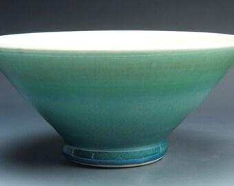 Handmade pottery bowl jade green porcelain serving or ceramic salad bowl 1 qt, - 3563