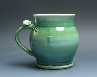 Sale - Pottery beer mug, ceramic mug, stoneware stein jade green 22 oz 3645