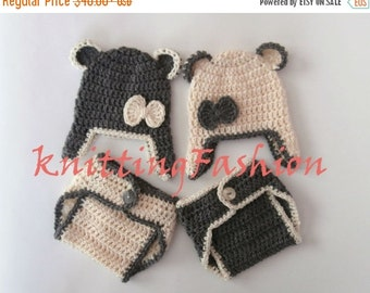 ON SALE 15% SALE Teddy Bear Baby Twins Outfits _Teddy Bear Babies Twin Crochet  Outfits _ Baby Twins Hospital Outfits_ Photography Outfit Ba