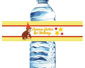 Curious George Water Bottle Labels- Waterproof  Birthday, red and yellow baby shower