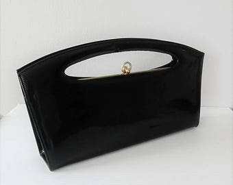 40% OFF SALE Vintage 1960's Sleek Black Long Clutch Purse / Classic Shiny Patent 50's 60's Handbag