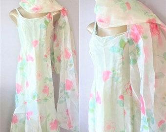 40% OFF SALE Vintage Pastel Green Summer Floral Mermaid Dress / Fabulous Formal Sheer Organza Maxi Bridesmaid Party Dress Size S