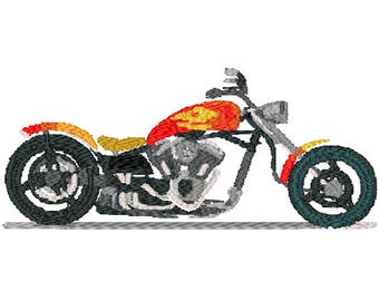 Chopper motorcycle digital embroidery design, Motorcycle digitized embroidery design