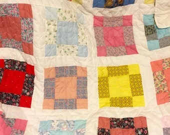 vintage cotton colorful quilt hand made blanket bedding