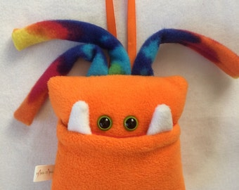 Tooth Fairy Pillow | Orange and Tie Dyed Tooth Monster | Tooth Fairy Monster Pillow