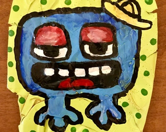 Blue Germ - Painting on 12 oz. pop can - Real Pop Art