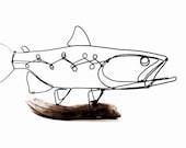 Trout Wire Sculpture, Fish Wire Art, Minimal Wire Design, 516587537