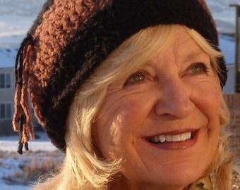 Women's skullcap winter accessories crochet black brown ski hat