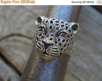 ON SALE Leopard ring handmade in sterling silver with red cz's