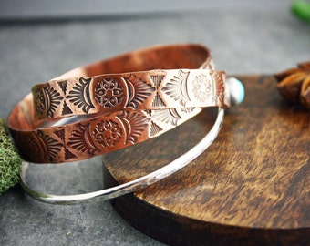Stamped Copper bangle bracelet- copper bracelets- copper jewelry- native american jewelry- textured copper jewelry- tribal style bracelet