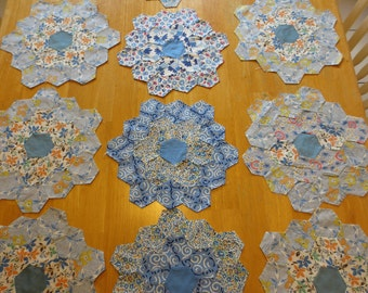 Vintage Grandmother's Garden Hexagon Quilt Blocks, Lot of 12, Blue, Hand Pieced, Edges basted under, Ready for applique