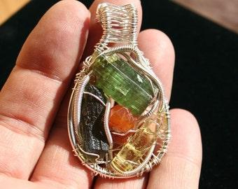 Moldavite, Heliodor, Garnet, Green Tourmaline Pendant