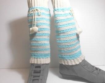Crocheted Striped Leg Warmers, Handmade Leg Warmers, Pom Pom Leg Warmers
