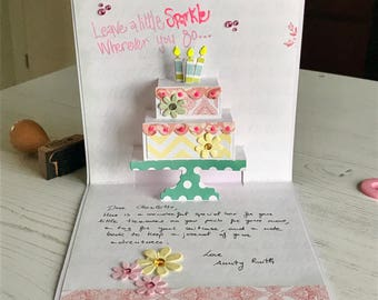 Pop Up birthday card, Handmade Card, luxury birthday card, cake pop up card, personalised card, birthday cake card, handcrafted, special