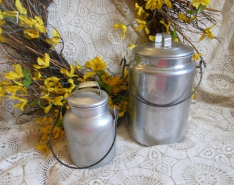 Milk Pail Bucket Aluminum Vintage at Quilted Nest