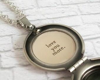 Love You More Quote Locket Necklace Vintage Photo Pendant Romantic Retro Jewelry