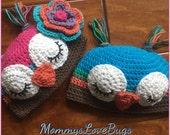 Owl Crochet Beanie - Newborn through Adult
