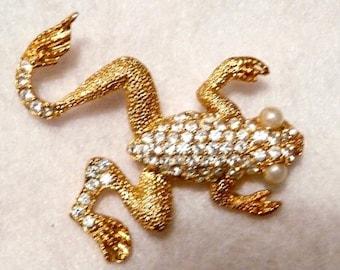 Rhinestone Frog Gold Tone Brooch Jewelry Pin