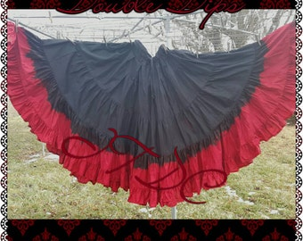 25yd Hand Dyed Jet Black/ Ox Blood Red skirt