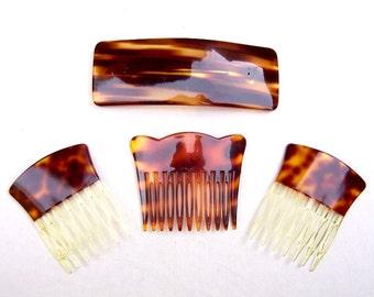 4 vintage faux tortoiseshell hair accessories hair comb hair barrette mid century hair slide hair clip hair jewelry