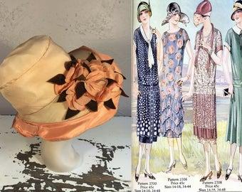 The King Opens Wimbledon - Vintage 1921 Hodge Hats Peach Orange Silk Oval Straw Wide Brim Hat w/Velvet Silk Flower