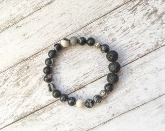 Lava Rock Essential Oil Diffuser Bracelet with Black and White Granite Beads  - Stretch Diffusing Lava Bead Bracelet - Yoga In